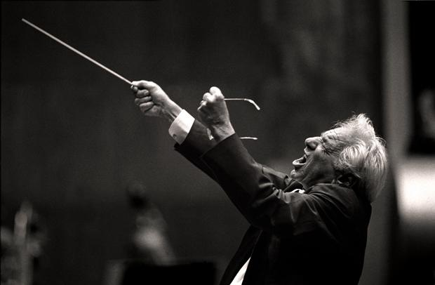 Leonard Bernstein conducts the Chicago Symphony Orchestra in Avery Fisher Hall; June 24, 1988.