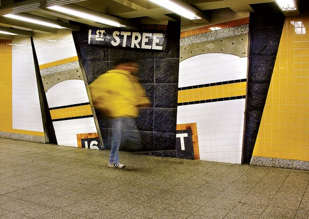 'Wall-Slide' (2002) © Vito Acconci, 161st Street–Yankee Stadium Station, MTA New York City Transit.