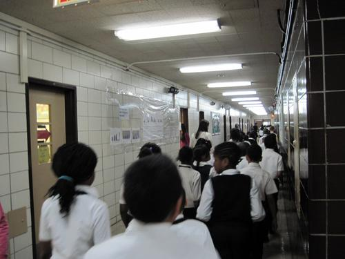 Students at I.S. 217 see the students from South Bronx Classical when they walk through the halls.