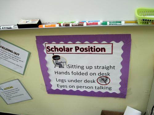 Scholars have to sit a certain way.