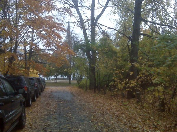 This is the strand of cars lined up outside my office in Walpole, Mass. We park along a long driveway.