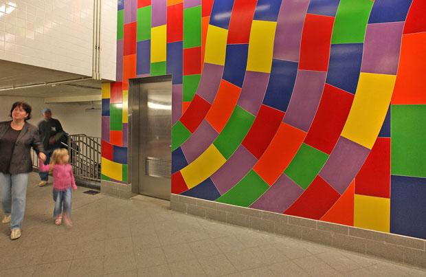 'Whirls and Twirls (MTA)' (2009) by Sol LeWitt, 59th Street-Columbus Circle Station, MTA New York City Transit.