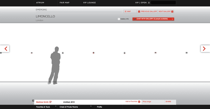 The outline of a human shadow provided scale when viewing works online. Above, Limoncello Gallery, from London, featured a display of Polaroids that you could individually zoom in on.