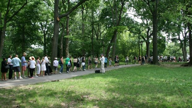 The line for Shakespeare in the Park tickets moved along at a clip an hour after tickets began being distributed.