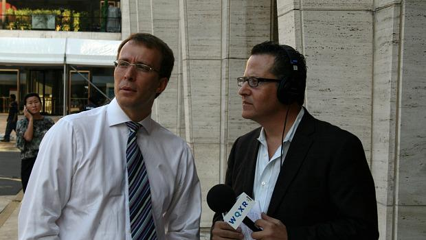 Elliott Forrest (R) with WQXR Vice President Graham Parker (L)