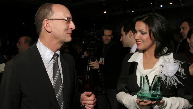 Metropolitan Opera General Manager Peter Gelb greets Russian soprano Anna Netrebko after she was presented Musical America's 2008 Musician of the Year award at the Musical America Awards party at Linc
