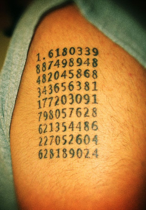 Milad Khongar's tattoo of the numerical value of the golden ratio.
