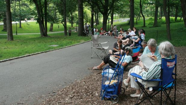 Most summer days, the line for Shakespeare in the Park wends down the concrete path. Still, everyone in line was able to get a ticket for