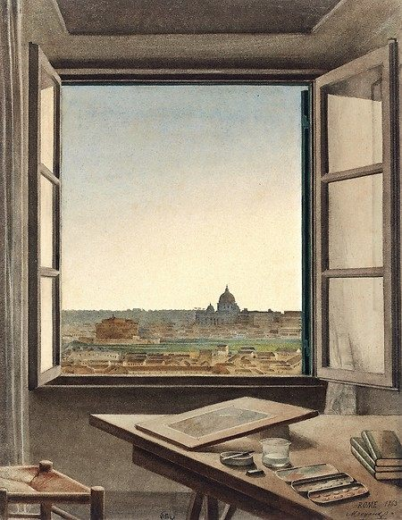 'View of Rome from the Artist's Room at the Villa Medici,' 1863, by Constant Moyaux, part of the open windows exhibit at the Met.