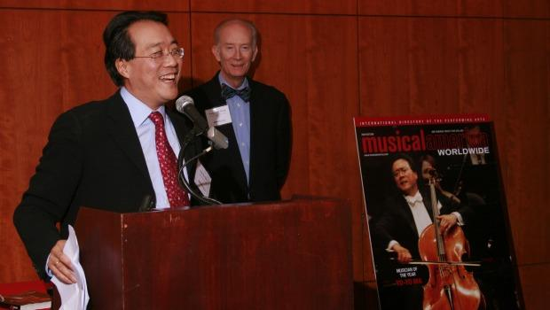 Yo-Yo Ma accepts his award as Musical America's 2009 Musician of the Year from Musical America editor Sedgwick Clark.
