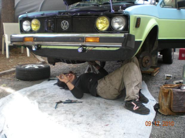 This is me underneath my daily driver replacing my steering rack. I drive a 1980 VW diesel rabbit.