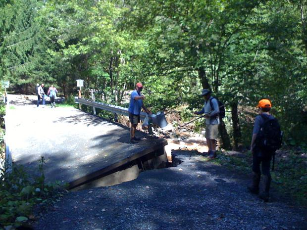 A flood damaged bridge in the Catskills on Burnham Hollow Road in the Catskills.