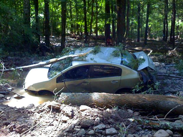 A damaged car in the Catskills near Burnham Hollow Road.