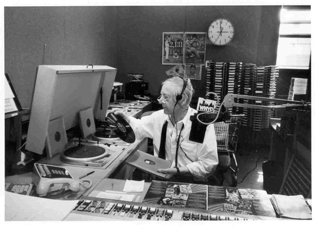 Danny Stiles in the WNYC studio in the mid 1980s.