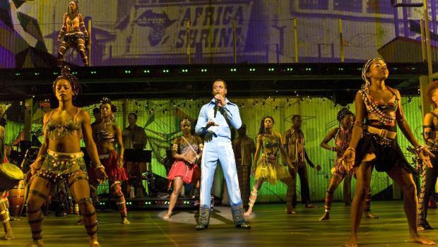 Sahr Ngaujah as Fela Kuti and the Broadway cast of FELA!