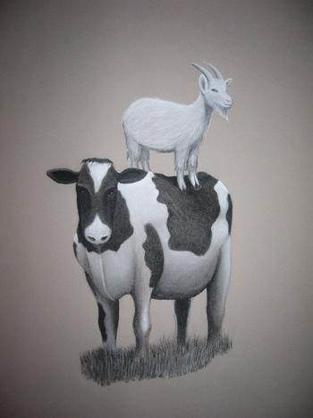Drawing of a goat on a cow