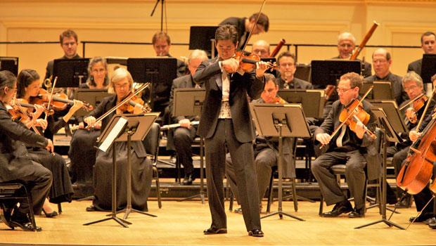 Ryu Goto plays with the Orpheus Chamber Orchestra in Carnegie Hall.