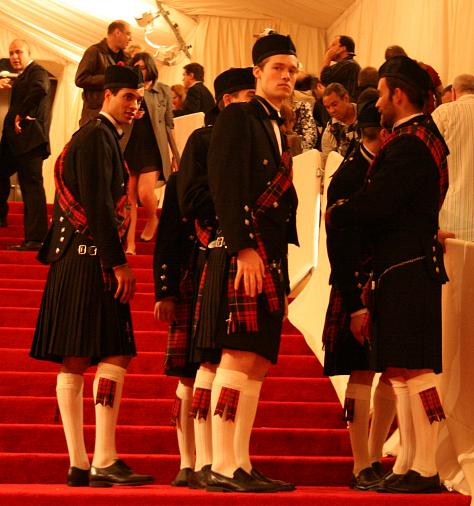 Men in traditional Scottish garb greeted the party goers.