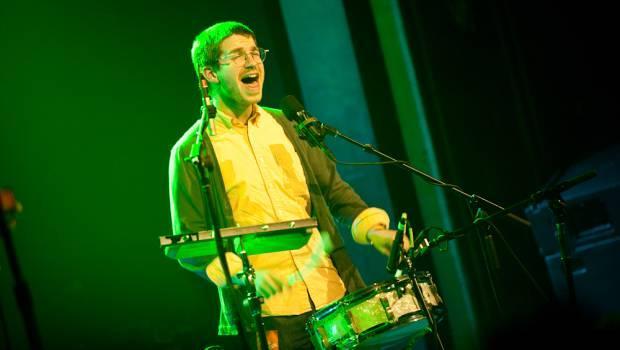 Thomas Gill accompanies Owen Pallett at Webster Hall on April 22