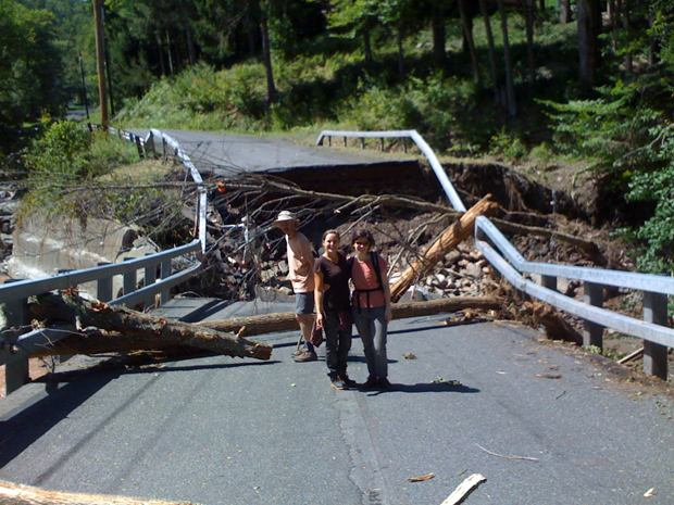 A flood damaged bridge on Burnham Hollow Road in the Catskills.