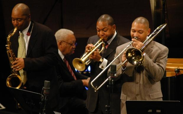 The Marsalis Family -- Branford, Wynton, Ellis and Delfaeo -- at the opening night in October 2004 of the new Jazz at Lincoln Center facility, Frederick P. Rose Hall