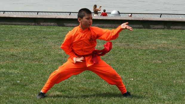 Traditional Chinese Shaolin martial artists performed at the dragon boat awakening ceremony.