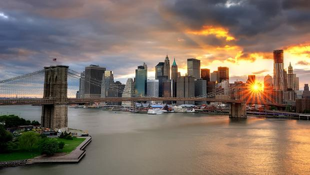 An iconic New York site: sunset over the Brooklyn Bridge