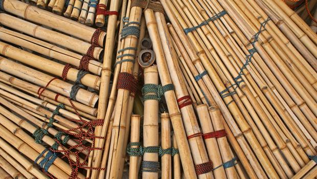 There are three different kinds of 30-40 foot bamboo poles, which came from Georgia for this exhibit.