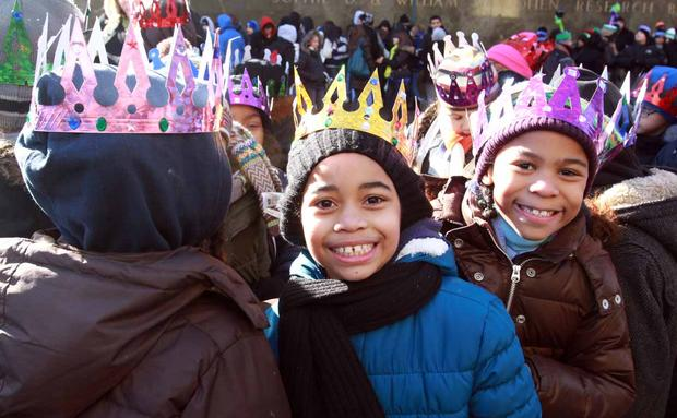 Schoolchildren wearing costumes at El Museo del Barrio's Three Kings Day Parade.