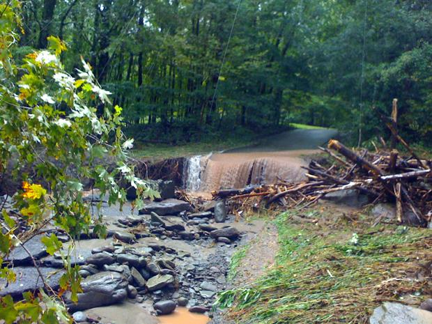 A washed out, flood damage stretch of Burnham Hollow Road in the Catskills.