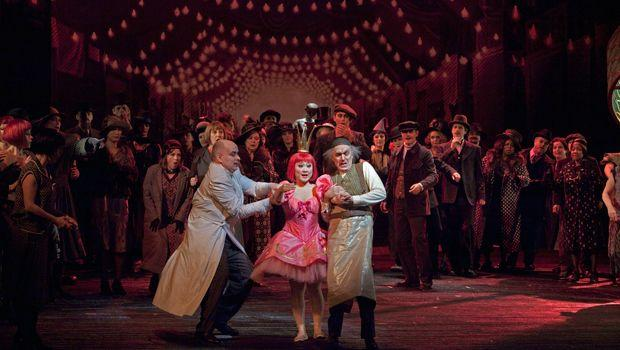 """A scene from Act I (Olympia act) of Offenbach's """"Les Contes d'Hoffmann"""" with Mark Schowalter as Spalanzani, Kathleen Kim as Olympia, and Alan Oke as Cochenille."""