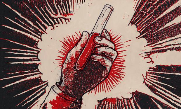 Illustration of a hand holding a vial of blood
