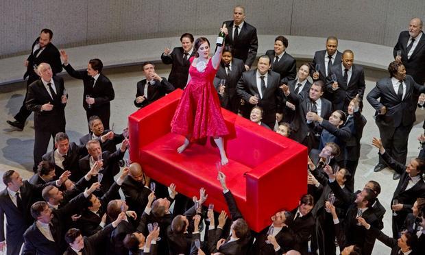 Diana Damrau as Violetta in Act I of Verdi's La Traviata at the Metropolitan Opera
