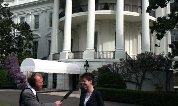 Radiolabbers Soren Wheeler and Brenna Farrell at the White House Science Fair 2013