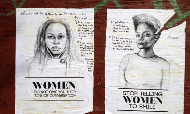 Tatyana Fazlalizadeh's original posters on Tompkins Ave. in Bedford-Stuyvesant, Brooklyn.