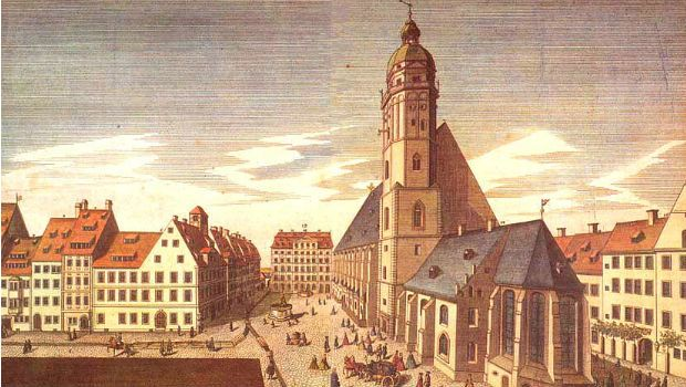 St. Thomas Church School in Leipzig (Bach's home is at the end of the square)