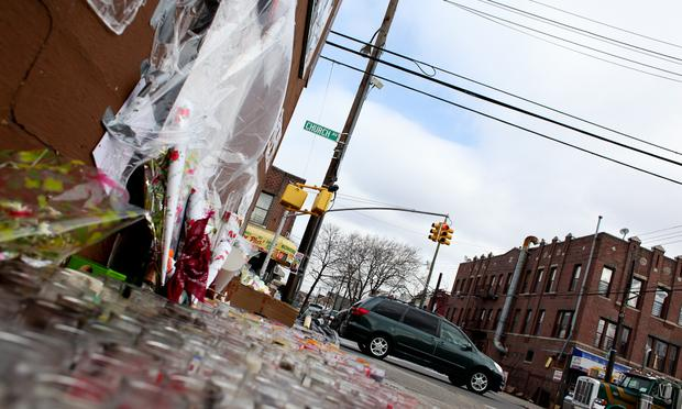 Corner of Church Ave and 55th St. where a vigil for Kimani Gray is being held in East Flatbush, Brooklyn.