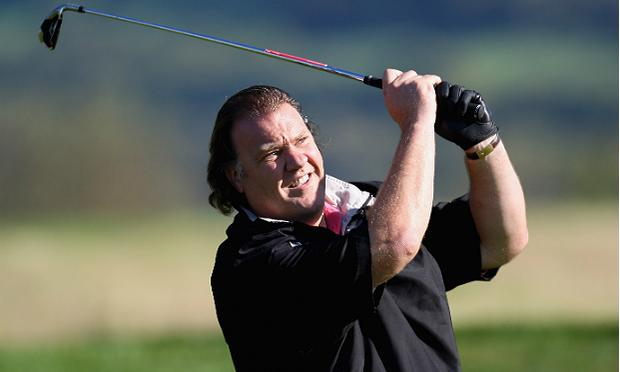Baritone Bryn Terfel in action during the 'Year to Go' exhibition match at the Celtic Manor Resort on October 12, 2009 in Newport, Wales.