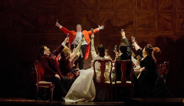 A scene from Verdi's 'Falstaff' with Ambrogio Maestri (standing center) in the title role.