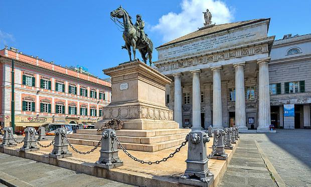 The opera house (Teatro Carlo Felice) on Piazza De Ferrari in Genoa, Italy