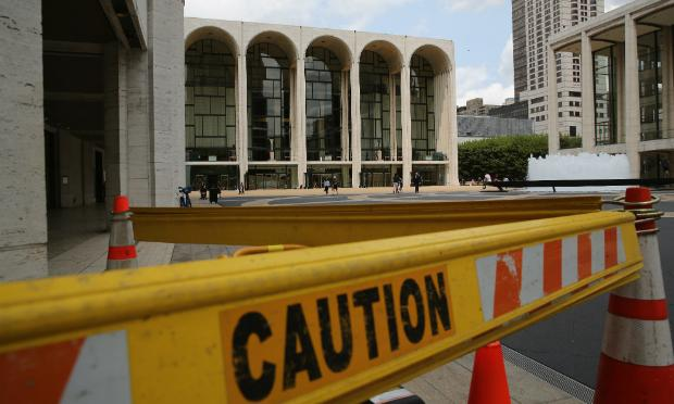 A construction site stands in front of the Metropolitan Opera on July 29, 2014