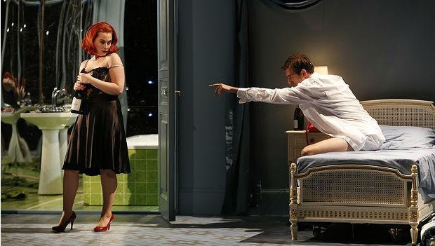 Nili Riemer, Matt Boehler in 'Powder Her Face' at NYC Opera