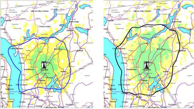 The coverage area for WQXR, currently (L), and after the planned signal expansion (R)