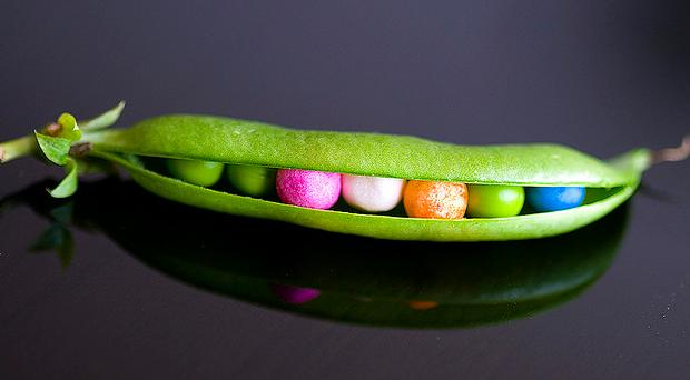 Candies in a pea shell