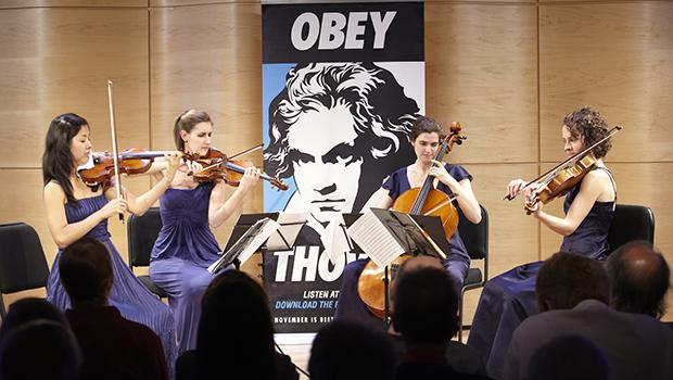 The Alumni of Perlman Music Program at the Beethoven String Quartet Marathon in the Greene Space.