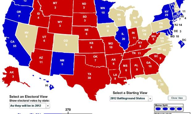 Election 2012 map showing swing states