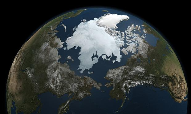 A snapshot of sea ice. This image was compiled using data gathered by NASA's Aqua satellite on Sept. 3, 2010.