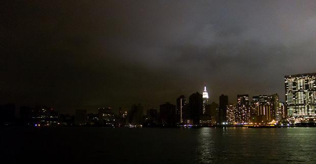 NYC skyline with lower Manhattan in darkness