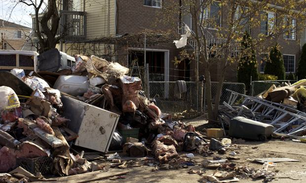 Debris from gutted homes in the Midland Beach section of Staten Island.