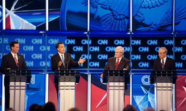 Republican presidential hopefuls Rick Santorum,  Mitt Romney, Newt Gingrich and Ron Paul participate in the CNN Southern Republican Leadership Conference Town Hall Debate in Charleston, SC